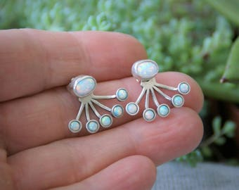 Opal ear jackets / opal earrings / opal studs / earring jackets / ear jacket / earring jacket