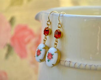 Red Rose Earrings, Vintage Flower Earrings, Red & White Earrings, Glass Drop Earrings, Floral Jewelry, Gold Fill Dangle Earring, Mothers Day