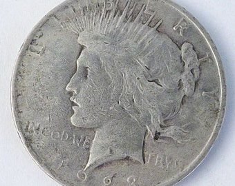 1923 Vintage Silver Peace One  Dollar Collectible Coin, 1923 Coin, Philadelphia Mint Mark