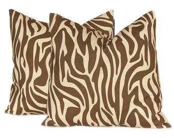 Pillow Cover, Throw Pillow, Decorative Pillow, Pillow Cover, Pillow Sham, 16 x 16, 18 x 18, 20 x 20, Brown Pillow, Animal Print