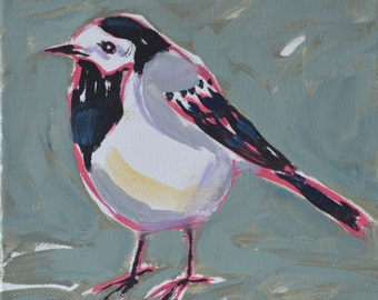 Original bird oil painting / birds / Wagtail / sketchy painting / bird art / small painting / home deco /childrens room / trendy art / gift