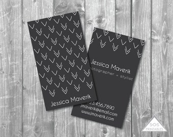 Business Card, Printable Business Cards, Modern Arrows, Chalkboard, Printable PDF, JPEG, Digital File