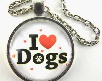 I LOVE DOGS Necklace -- I (heart) dogs -- Word art in black white red, Great gift for dog lovers, Hearts and hound paw print