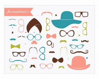Mustaches Clipart Little Man 'Accessories II' Hats, Glasses, Moustaches Instant Download Graphics for Crafts, Decoupage, Graphic Design...