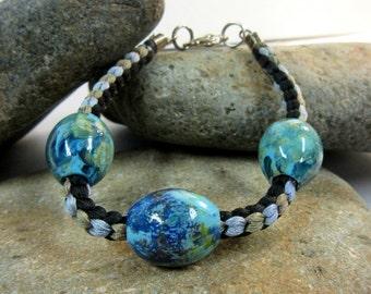 Kumihimo Bracelet, Japanese Braided Bracelet, Painted Wood Bead Bangle, Silk Cord Braided Bangle, Kumihimo Cord Jewelry
