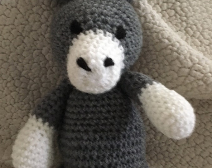 Crochet donkey gray white Childs toy stuffed donkey small donkey handmade donkey crocheted stuffie crocheted stuffed animal Childs toy
