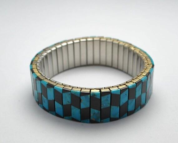 Bracelet extensible en turquoise et onyx