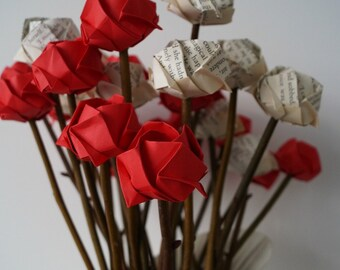 Mother's day bouquet-origami roses with natural twigs-for girlfriend/wife/mom-birthday-house warming-paper anniversary-teachers' gift