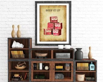 Kitchen print, Kitchen sign, oxo, vintage kitchen print, food print, vintage kitchen poster, vintage kitchen sign, retro kitchen print
