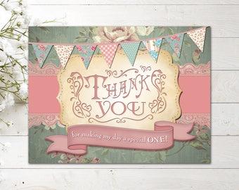 Shabby Chic 1st Birthday/Vintage 1st Birthday Girl Thank You Card/DIY Printable