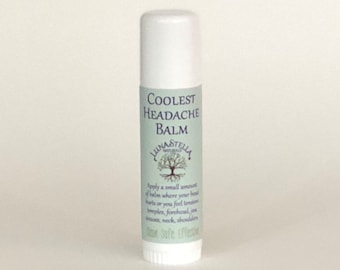 Headache Balm - Cooling - TMJ Jaw Pain Relief - Migraine - Muscle Tension - Sinuses - Allergies - Natural Remedy - Clean. Safe. Effective
