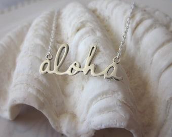 Script Aloha Necklace - Silver
