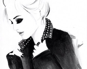 Digital Download - Watercolour Fashion Illustration Titled Punky Topknot