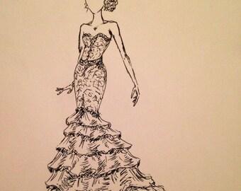 Custom Wedding Dress Sketch-b&w