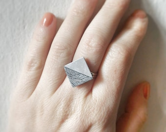 aquafortis - ooak - square - ring - etched jewelry