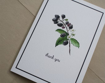 Blackberry Branch Thank You Notecards with Deep Purple Border. Set of 8. Handmade Thank You Notes Packaged.