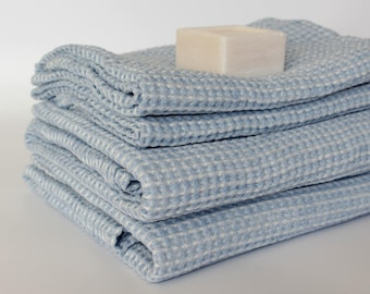 Blue Linen Bath Towels - Waffle Weave Bathroom Towel - Organic Hooded Bath Towel - Soft Linen Cotton Towels - Bath Sheet Powder Blue Color