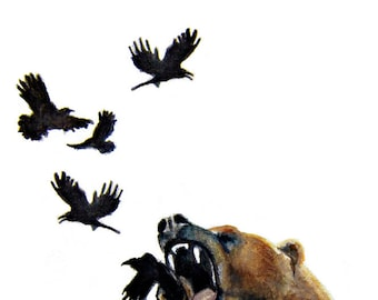 Scared Outrage - Bear with crows - Print of original illustration