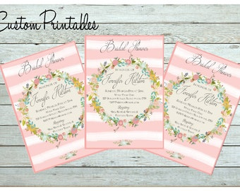 Pink Stripe  Wreath Printable Custom Invitation, Baby Shower, Bridal Shower, Birthday, invitation