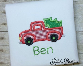 Christmas applique shirt, Boy's applique shirt, Boy's Christmas shirt, Boy shirt, Truck applique, Christmas truck, personalized, monogrammed