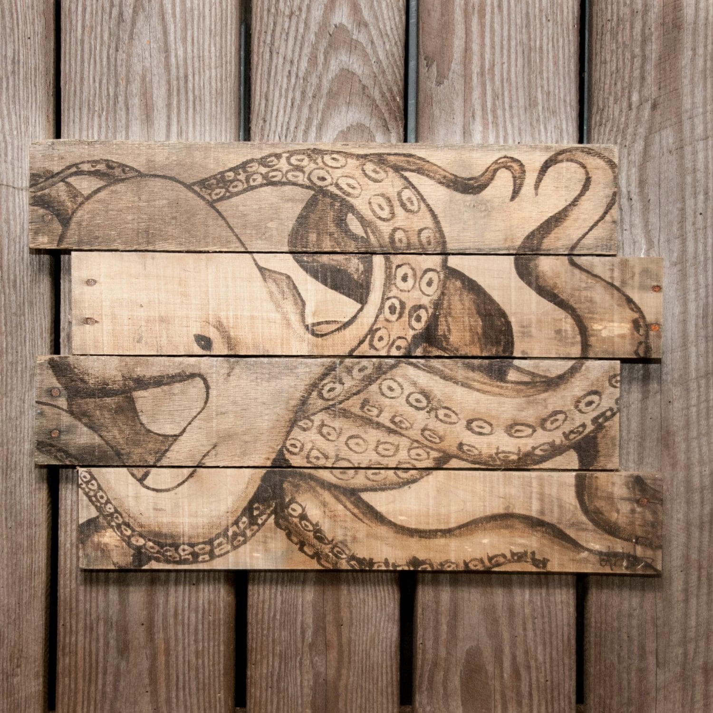 Octopus Art Print Ocean Decor Beach House Rustic Wall