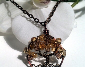Brown Almond Tree of Life Pendant with Amber Swarovski Crystals and Citrine Gemstone Tree of Life Necklace Wire Wrapped Trees