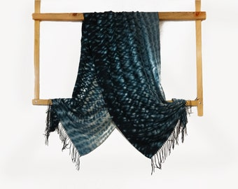 Large green ocean blue wool scarf Hand dyed shibori warm winter scarf fringed Mens womens gift Abstract Unique Fashion accessory