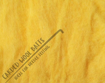 Sunflower Yellow Colour Carded Wool Batts For Needle Felting 5g 10g | 100% Sheep Wool | Needle Felting Wool | Bright Yellow Bee Banana