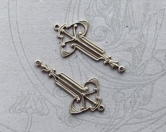 Art Nouveau Raw Brass Drop 2 Rings