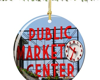 Seattle Pike Place Market Christmas Ornament in Porcelain