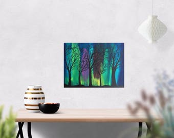 Galaxy Art - Northern Lights Painting - Aurora Borealis Art - Night Sky - Tree Art - Home Decor - 9 x 12 Small Painting - Canvas Painting