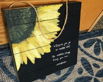 Custom Quote Sunflower Canvas