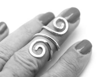 Splint Ring, Sterling Silver Adjustable Ring, Thumb Ring, Knuckle Ring, Double Swirl Ring, Textured Silver Ring, Hammered Sterling Ring
