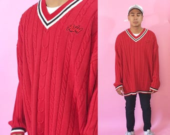 Vintage fubu knit sweater red size xl oversized 1990s 1980s 90s 80s red sweater