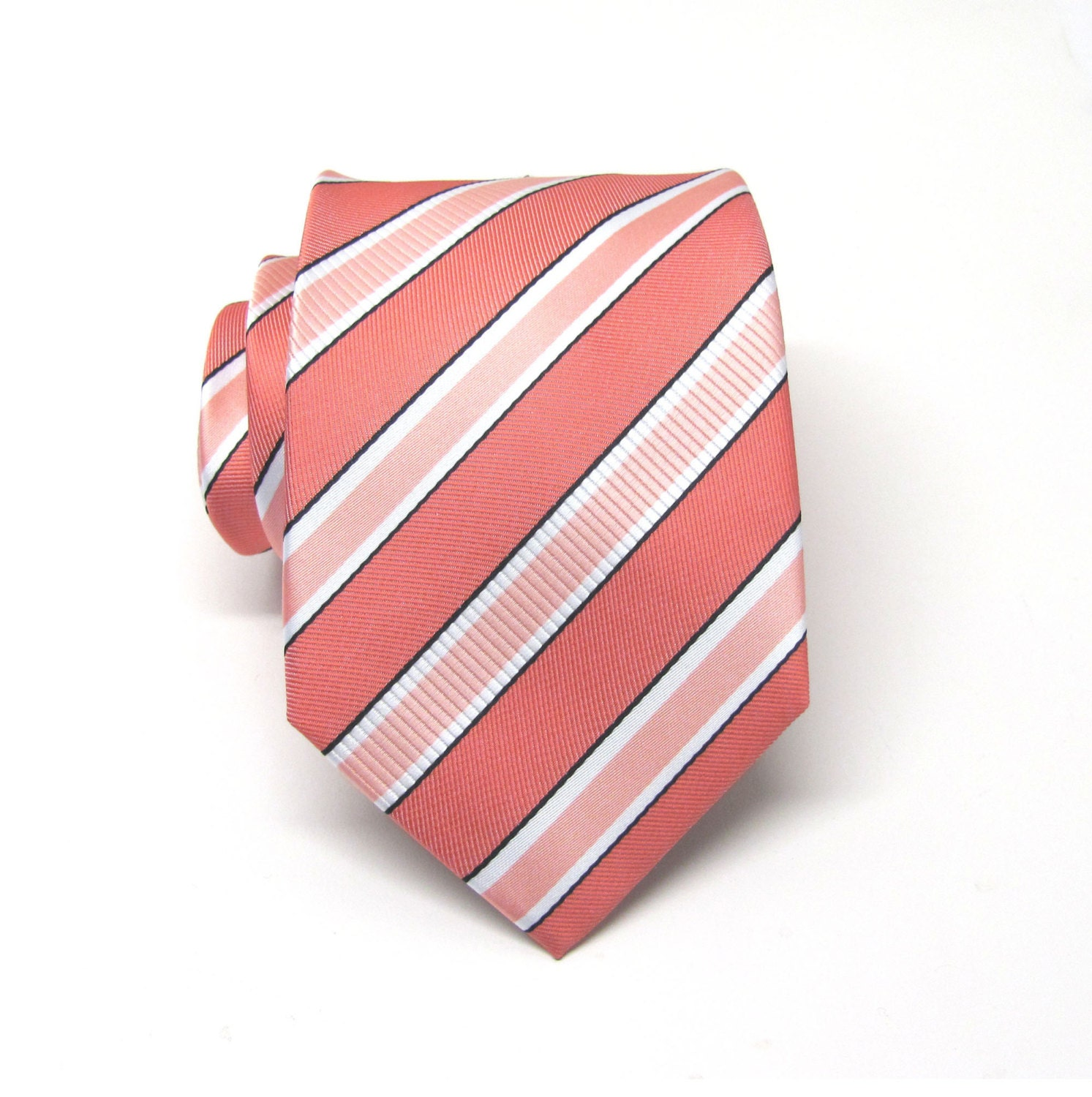 Coral Ties. Mens Ties Coral Peach White Stripes Necktie With