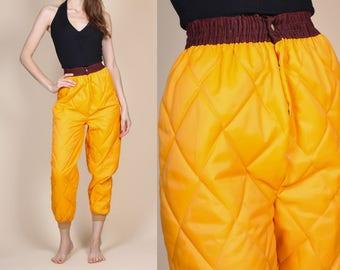 80s High Waist Ski Pants - XXS // Vintage Neon Orange Insulated Joggers Retro Snow Pants