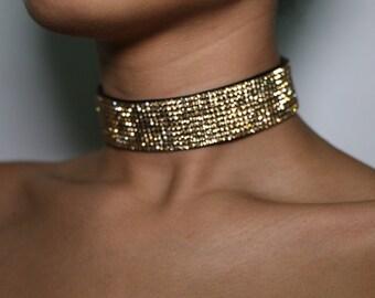 Crystal Choker Rhinestone Choker Diamond Choker Gold