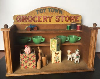 RESERVED for SARI Parker Brothers Toy Town Grocery Store~wood and paper litho advert~ vintage 1910s20s~props or collectible  from MilkweedVi