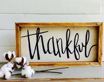 Thankful | Small Rustic Sign | Home Decor | Mantle Sign | Gallery Wall
