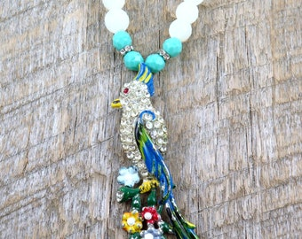 Vintage Bird Necklace, Parrot Pendant, Bird Jewelry, Moonstone Beaded Necklace, Vintage Parrot Pin, Statement Necklace