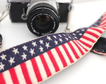 Camera belt camera belt band strap America stars photoequipment photographer camera equipment vintage retro