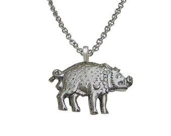 Textured Pig Pendant Necklace