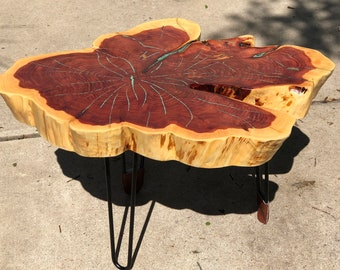 "Tree Slice Side Table with Hairpin Legs, 32""x24""x3"" thick, rustic cedar slice table, metal hairpin legs, blue gemstone epoxy, Texas cedar"