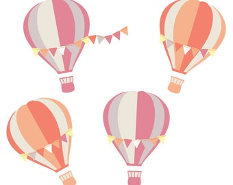 Hot Air Balloon Wall Decals - Balloon with Banners Fabric Wall Decals