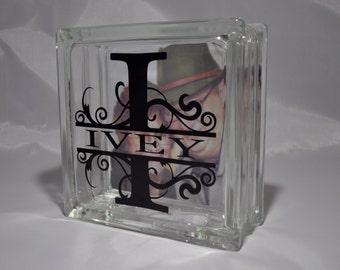 Monogram Glass Block - Personalized Customized Wedding Monogram Glass Block - Personalized Monogram Glass Block - Last Name Glass Block
