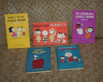 Vintage 1967 Peanuts Charlie Brown / Lot of Five Hard to Find Holt, Rinehart, and Winston Books!  Oversized Paperback One Dollar Cover!