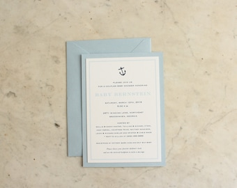 party, wedding shower or baby boy shower invitation - anchor