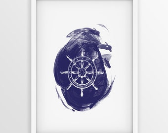 Ship Wheel Print, Nautical Home Decor, Navy Blue Wall Art, Nautical steering wheel, Marine Digital Print, Nautical Wheel Instant Download