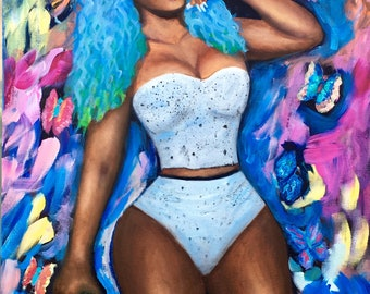 Dancehall Queen mixed media acrylic and oil painting