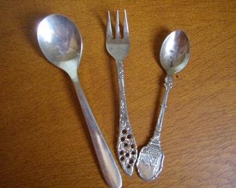 3 mismatched flatware, silver, vintage, forks and spoons, souvenir or advertising for collectors